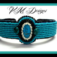 Real Turquoise Stone Bead Embroidered Cuff Bracelet