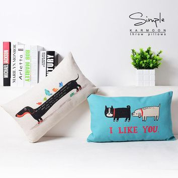 Blue Pair Two Long Dog Hot Dogs Personality Art Decorative Pillow Cover Euro Pillows Emoji Home Decor Vintage Gift
