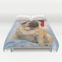 Christmas Pug Duvet Cover by Veronica Ventress