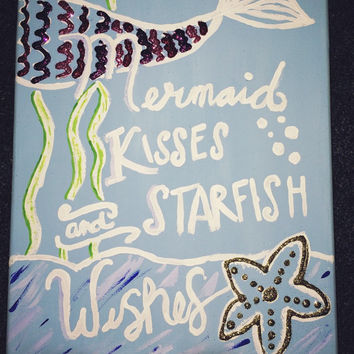Mermaid Kisses and Starfish Wishes painting, Glitter Mermaid painting, Girls Wall Art