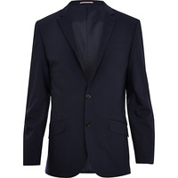 River Island MensNavy blue wool-blend slim suit jacket