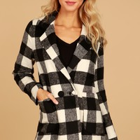 Double Breasted Checkered Jacket Black