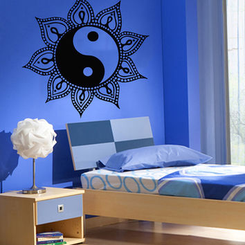 Sun Wall Decals Mandala Protection AmuIets Indian Pattern Yin Yang Yoga Studio Home Vinyl Decal Sticker Kids Nursery Baby Room Decor kk807