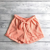 Linen Two Tone Peach Shorts