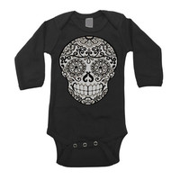 Rockabilly Kids Boys Bodysuit newborn to 18 month Tattoo Skull Shirt baby romper. Children Fall Clothing Trendy Black and white top girls