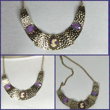 Gold and Purple Cameo Necklace/Free Shipping