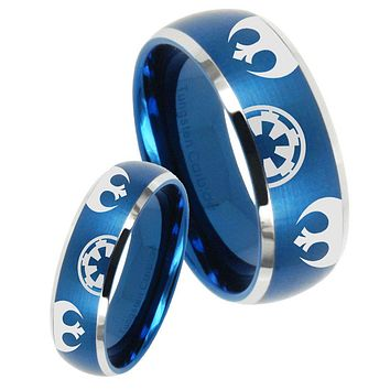His Her Satin Blue Dome Star Wars Galactic Empire Two Tone Tungsten Wedding Rings Set