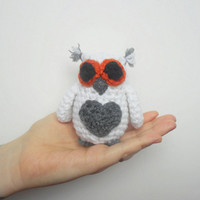 Small Crochet Plush Owl in White, ready to ship.