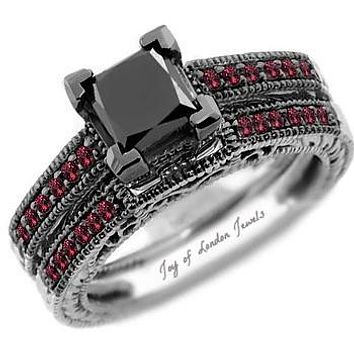 14K Gold Ethically Mined 1.44CT Princess Cut Black Diamond & Red Ruby Accented Bridal Set