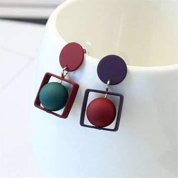 2018 New Fashion Hollow Square Pentagram Round Earrings Brincos Oorbellen Simple Mixed colors Ball Drop Earrings Women Jewelry