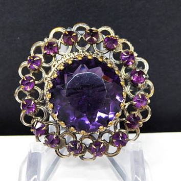 Victorian Round Brooch with Purple Faceted Crown Set Center - & Purple Rhinestones -  Vintage 1870's - Pre 1900's Pin - Antique Jewelry