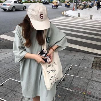 Oversize Loose Casual Letter Printed Long Design Basic Cute College Wind Korean Style Short Sleeve Female T-shirts