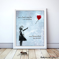 Love Art, Quote Print, Girl with Balloon, Printable art wall decor, Quote poster, Party Decor, Art Deco, Instant Download