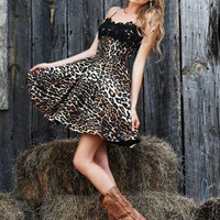 Black Leopard Print Sleeveless Lace Patchwork Skater Dress