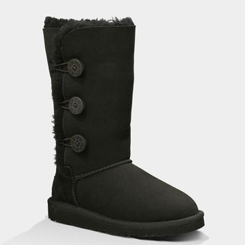 Ugg Bailey Button Triplet Girls Boots Black  In Sizes