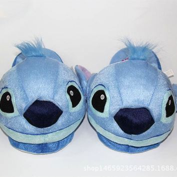 Stitch Slippers Kids Winter Warm Plush Baby Boy Girls Slippers New Cotton Children Home Shoes