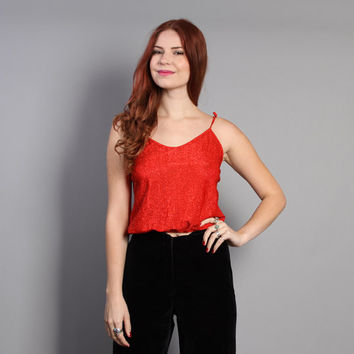 70s SPARKLY Red TOP / Strappy Metallic Crop Tank, xs-s