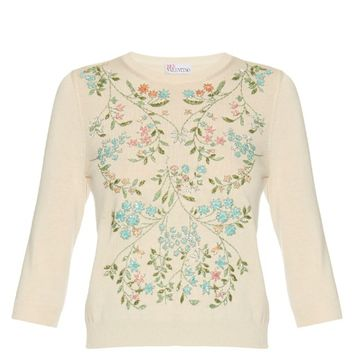 Embellished-floral cotton-blend sweater | REDValentino | MATCHESFASHION.COM US