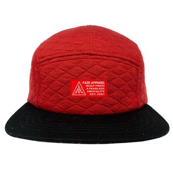 FAZE Quilted 5-Panel Hat in red and black