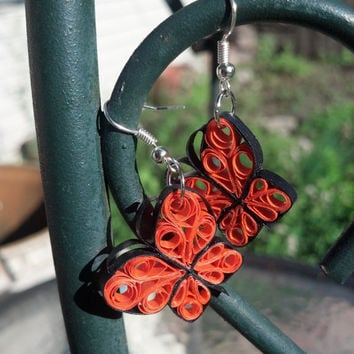 Paper Quilled Earrings Monarch Butterfly - Orange and Black - quilling paper jewelry, paper earrings, butterfly earrings, eco friendly, gift
