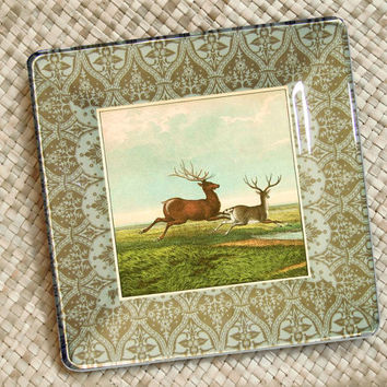 Christmas in July / Deer / Rustic Art / Deer Print / Deer Art / Antlers / Decoupage Plate Wall Hanging / Rustic Decor / Reindeer