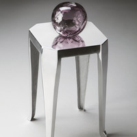 Shimmering Polished Aluminum Side Table