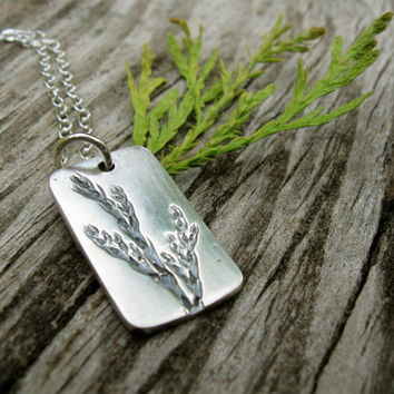 Silver woodland necklace, leaf foliage necklace, rectangle pendant, leafy garden plant nature outdoors forest botanical leaves autumn fall