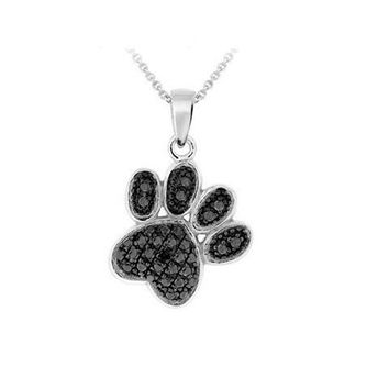 """Silver Overlay Black Diamond Accent Paw Print Pendant with 18"""" Chain"""