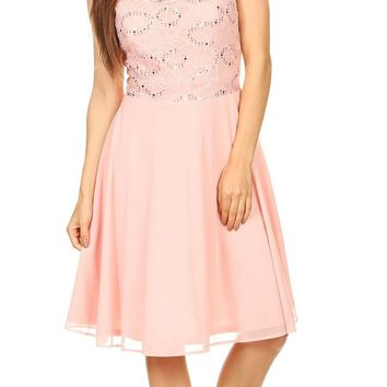 Celavie 8506-S Sleeveless Short Cocktail Dress with Embellished Neckline Blush