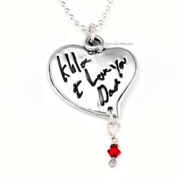 Double Fingerprint with actual handwriting- Sterling Silver Double Heart Pendant with Wire Wrapped Colorful Gem