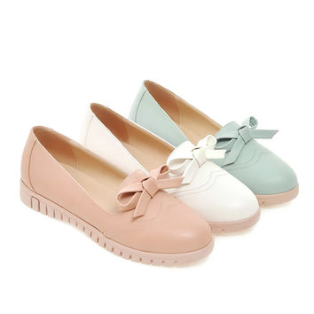 Women Flats Girl Casual Loafers Shoes Round Toe Bow Ballet Shoes