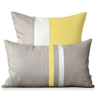 Butter Yellow Linen Pillow Cover Set with Cream Stripes by JillianReneDecor - Spring Home Decor, Pastel Yellow Pillows, Cushion Cover