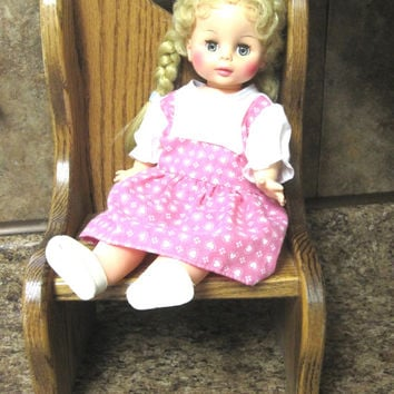 Wood Doll Chair Heart Wooden Toy Furniture