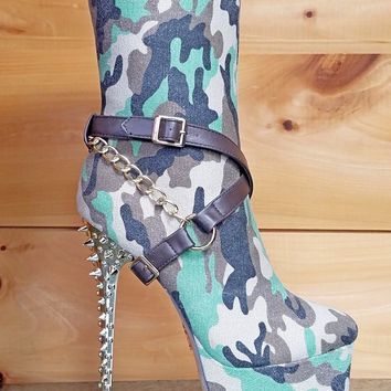 Mona Mia Camilla Canvas Green Camo Gold Spiked Heel Platform Boot