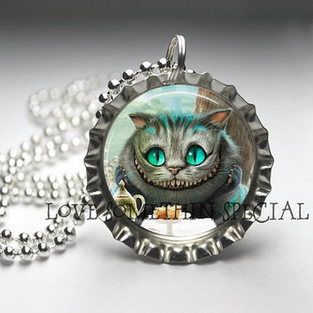 Cheshire Cat Alice in Wonderland Bottle Cap by LoveSomethinSpecial