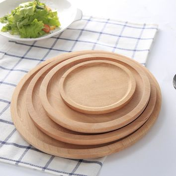 Japanese Tableware Wooden Round Food Tray Plate Healthy Natural Wood Pizza Plate Dishes Candy Fruit Tray Children Baby Cutlery