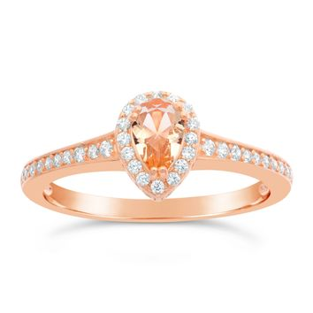 Pink Plated Sterling Silver Morganite Pear Cubic Zirconium Ring