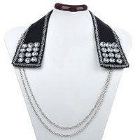Black Embellish Clear Rhinestone Collar with Draping Silver Tone Chains Necklace
