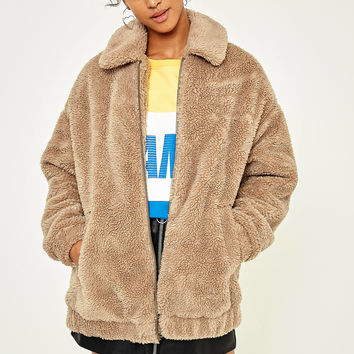 Light Before Dark Camel Teddy Zip-Through Jacket | Urban Outfitters