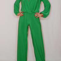 Long sleeve jumpsuit wide leg jumpsuit Bright green jumpsuit Wrap top