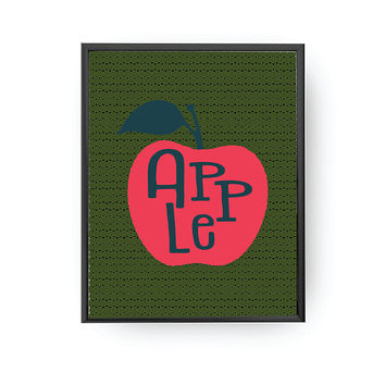 Apple Lettering, Typography Poster, Fruit Print, Education Poster, Baby Art, Kids Print, Apple Illustration, Children Learning, Nursery Art