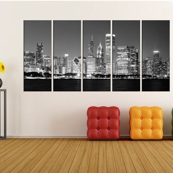black and white chicago wall art canvas print, black and white wall art, Extra Large wall art canvas, skyline canvas wall art print no:8s27