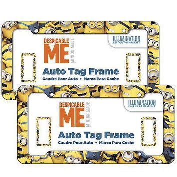 Licensed Official 2pc Despicable Me Minions Car Truck Automotive License Plate Frame Front & Back