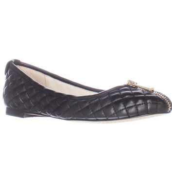Vince Camuto Bands Quilted Zipper Front Ballet Flats - Black