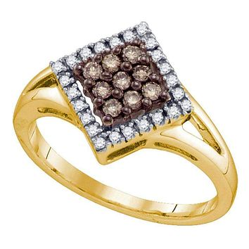 10kt Yellow Gold Women's Round Cognac-brown Color Enhanced Diamond Square Cluster Ring 1/4 Cttw - FREE Shipping (US/CAN)