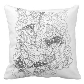 Black and White Cat for COLORING Art Throw Pillow