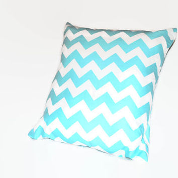Blue Chevron Pillowcase // Aqua Throw Pillow // Turquoise Couch Pillow // Zippered Pillowcase // Envelope Pillow