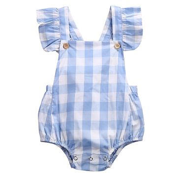 2018 Cute Baby Girl Clothes Summer Ruffled Sleeves Blue White Plaid Baby Romper Newborn Toddler Kids Jumpsuit Sunsuit Outfits
