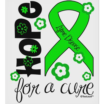 "Hope for a Cure - Lime Green Ribbon Lyme Disease - Flowers 9 x 10.5"" Rectangular Static Wall Cling"