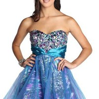 abstract print chunky stone two tone junior homecoming dress - debshops.com
